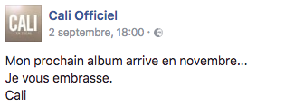 Cali nouvel album 2016