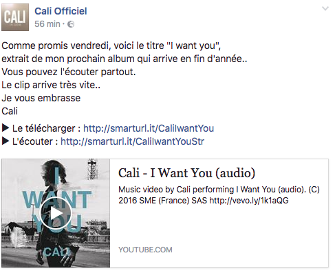 annonce officielle cali i want you facebook